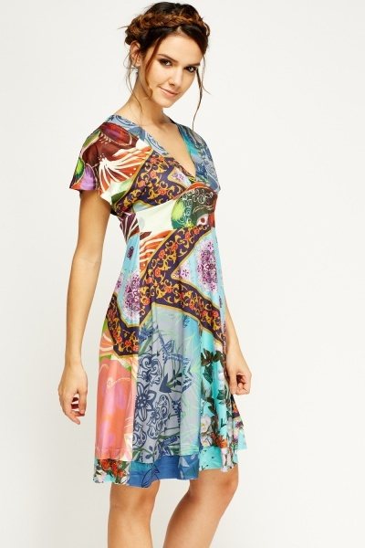 Mix print Low Neck Swing Dress