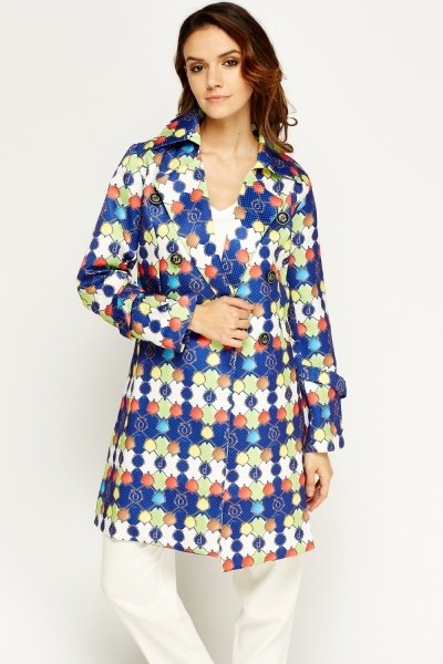 Multi Printed Longline Jacket