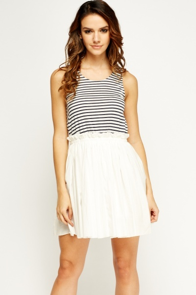 Striped Bodice Skater Dress