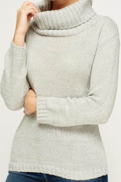 Cowl Neck Grey Knit Jumper - Just ?5