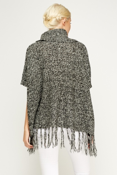 Cowl Neck Speckled Poncho