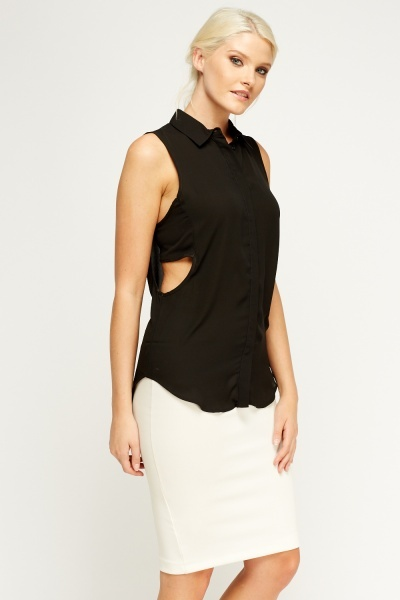 Cut Out Side Black Sleeveless Blouse