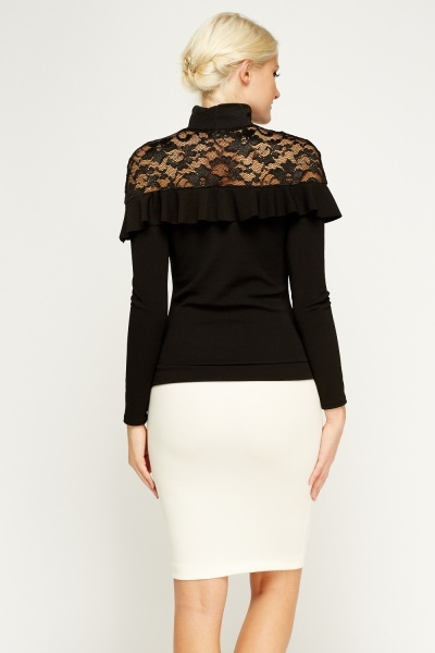 High Neck Lace Insert Top