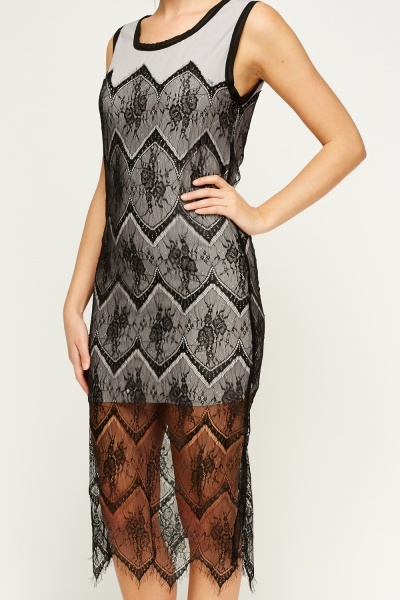 Lace Overlay Midi Dress