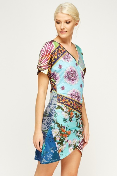 Mix Printed Wrapped Mini Dress