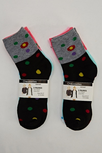 Pack Of 6 Dot Printed Socks