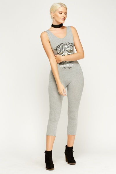 Printed Front Fitted Cropped Jumpsuit