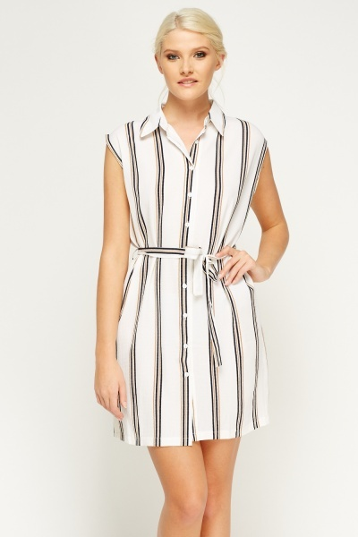 Sleeveless Striped Shirt Dress