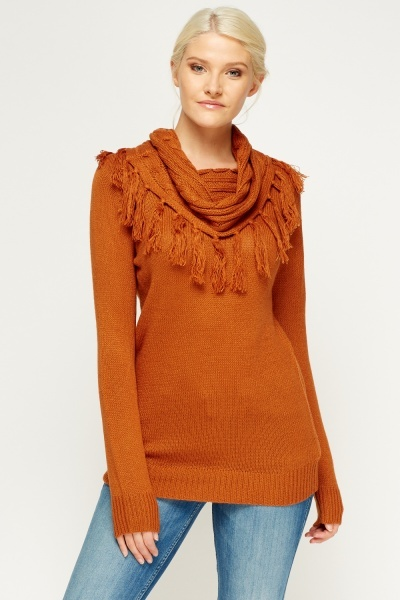 Tassel Cowl Neck Jumper