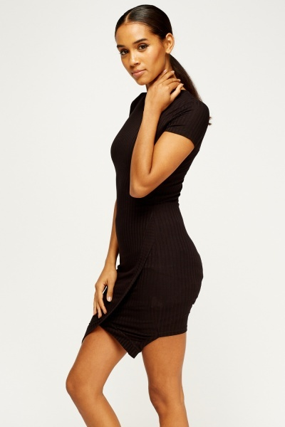 Bodycon Wrapped Hem Dress