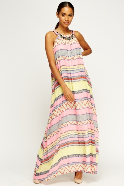 Embellished Neck Printed Maxi Dress
