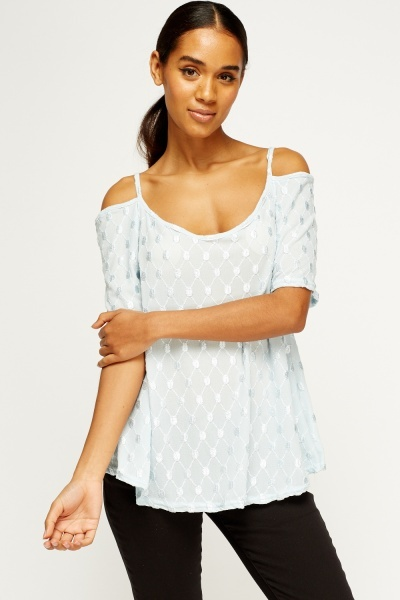 Embroidered Cold Shoulder Cami Top