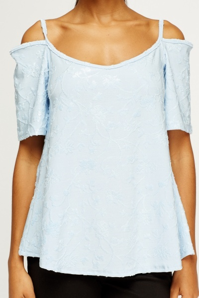 Floral Embossed Cold Shoulder Top