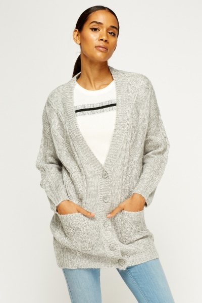 Light Grey Knitted Cardigan
