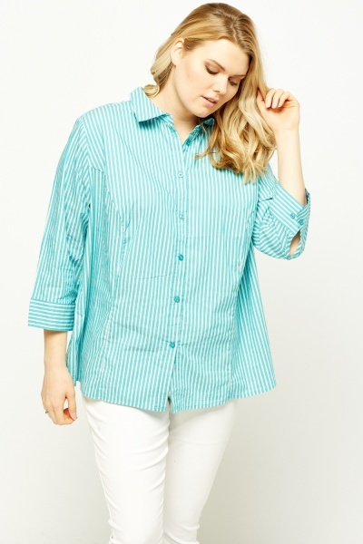3/4 Sleeve Stripe Printed Shirt