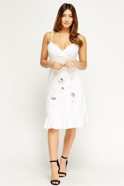 3D Flower Wrap Flare Dress