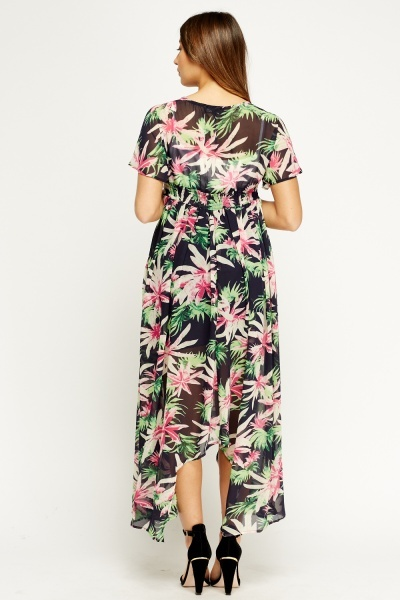 Asymmetric Sheer Printed Maxi Dress