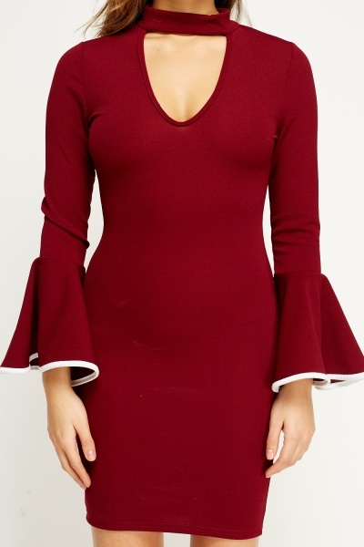 Choker Bodycon Flare Sleeve Dress