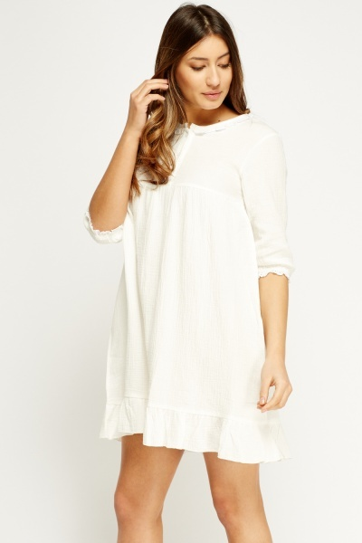 Detailed Trim Flare Hem Dress