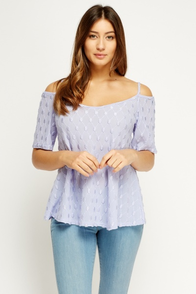 Embossed Lilac Cami Cold Shoulder Top