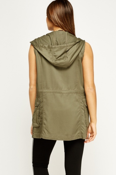 Khaki Hooded Zip Gilet