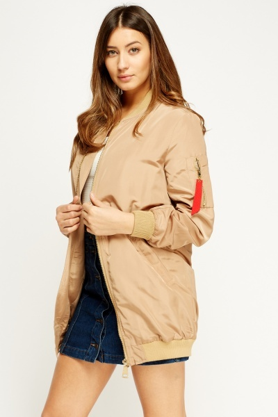 Khaki Long Bomber Jacket