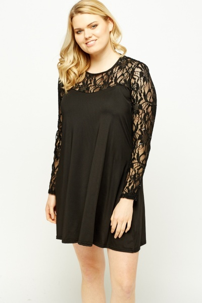Lace Insert Sequin Tent Dress