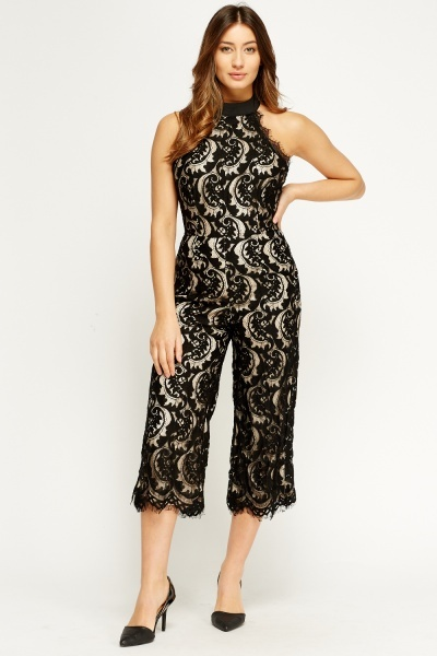 Lace Overlay Halter Neck Jumpsuit