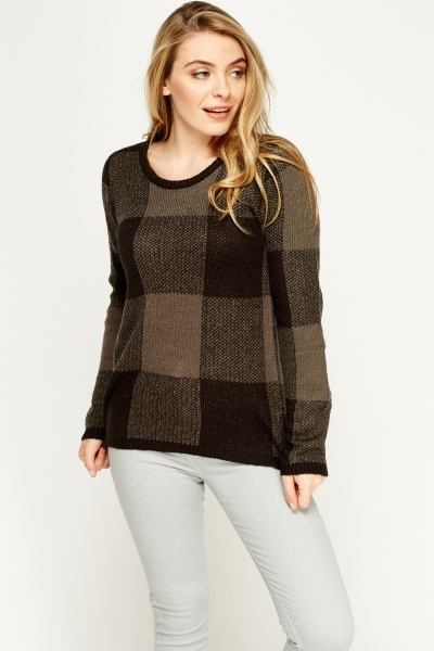 Checked Knitted Jumper