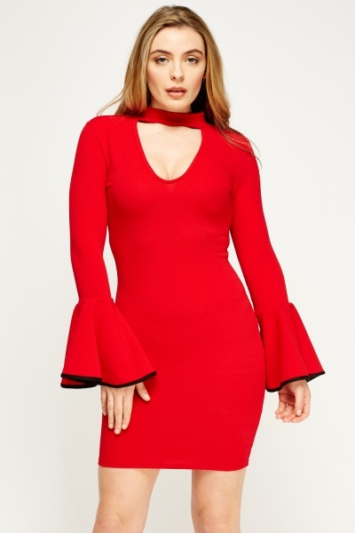 Flare Sleeve Bodycon Choker Dress