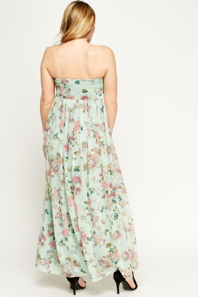 Floral Sheer Maxi Bandeau Dress