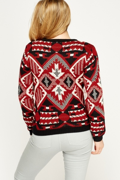 Mixed Print Maroon Jumper