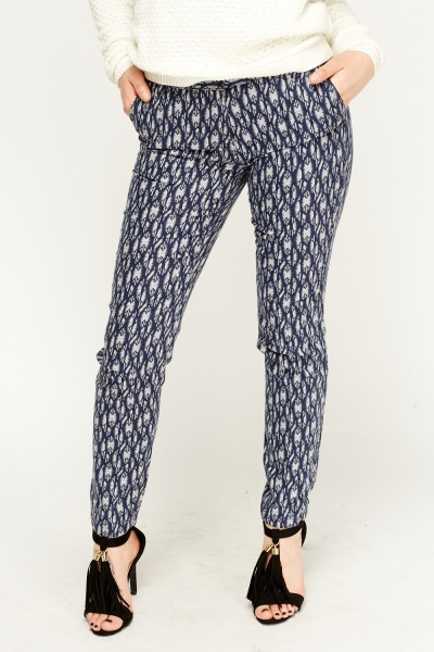 Navy Printed Light Weight Trousers