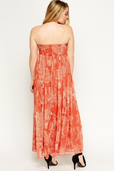 Orange Printed Maxi Bandeau Dress