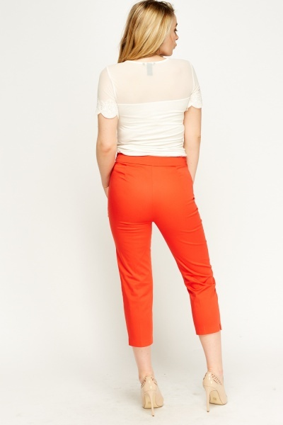 Red Cropped Cigarette Trousers