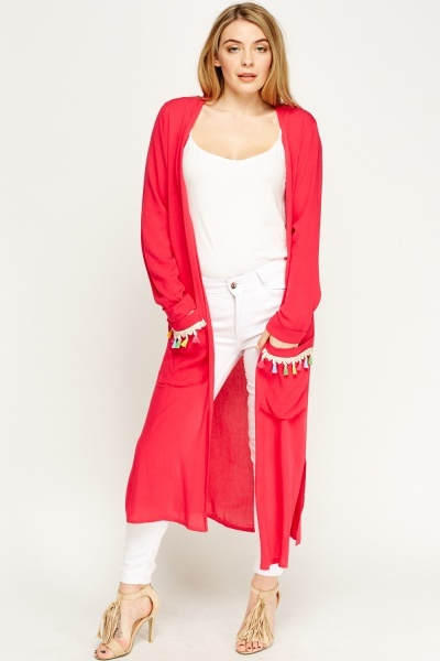 Tassel Trim Long Line Cardigan