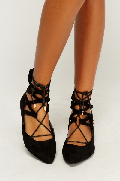 Lace Up Suedette Court Shoes