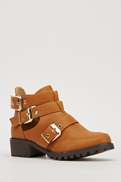 Multi Buckle Strap Camel Shoes
