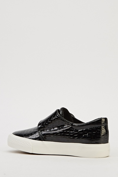 Twin Buckle Mock Croc Shoes