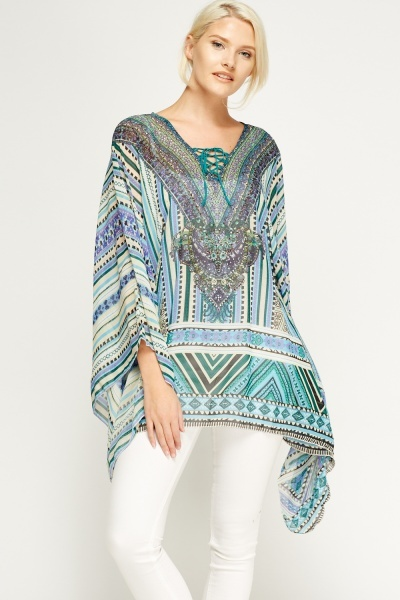 Embellished Printed Asymmetric Cover Up