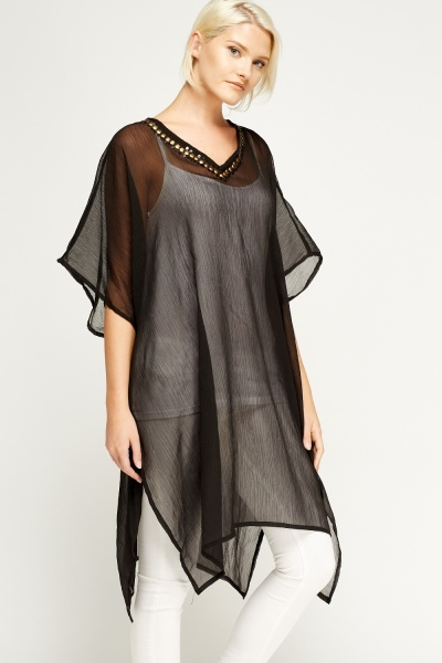Embellished V-Neck Cover Up