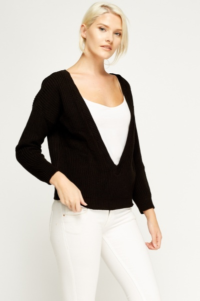 Low Neck Knitted Jumper