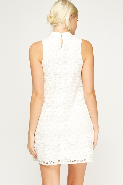 Mesh Overlay High Neck Dress