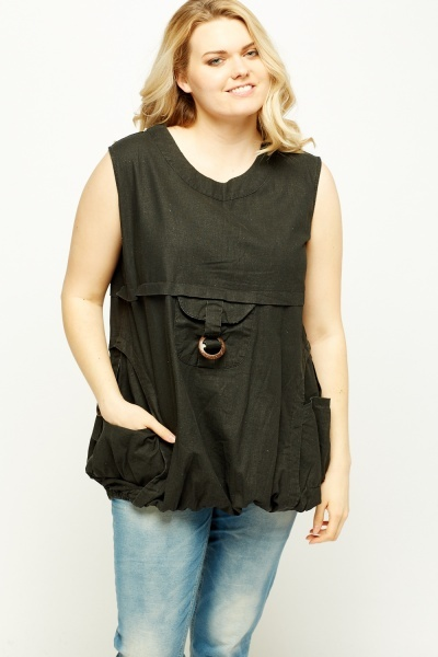 Multi Pocket Sleeveless Top
