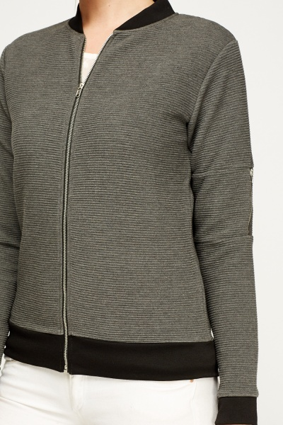 Ribbed Zip Up Jumper