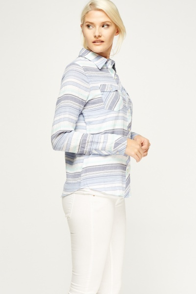 Striped Twin Pocket Pocket Shirt