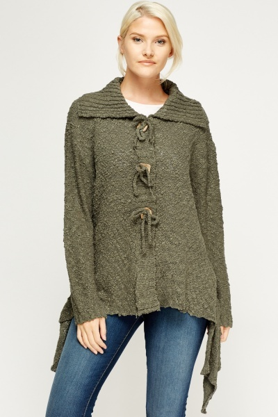 Bobble Knit Asymmetric Cardigan