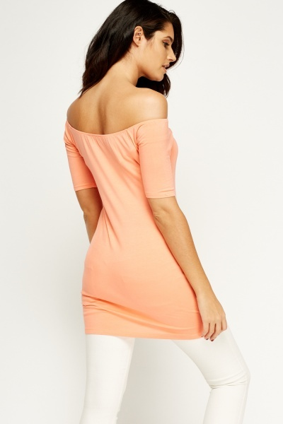Coral Off Shoulder Tunic Dress