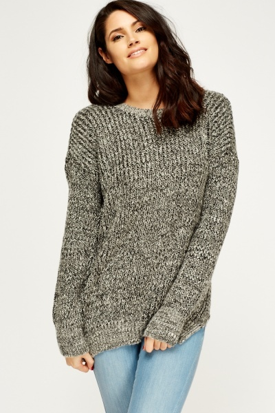 Dip Hem Speckled Jumper