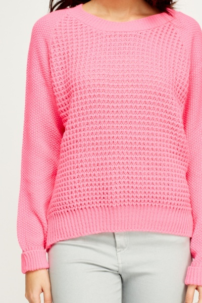 Hot Pink Knitted Jumper